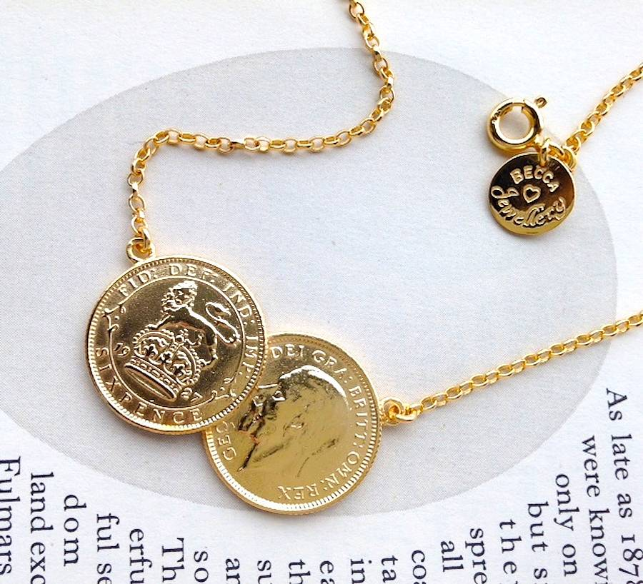 Double sixpence coin necklace by becca jewellery double sixpence coin necklace gold plated silver aloadofball Image collections