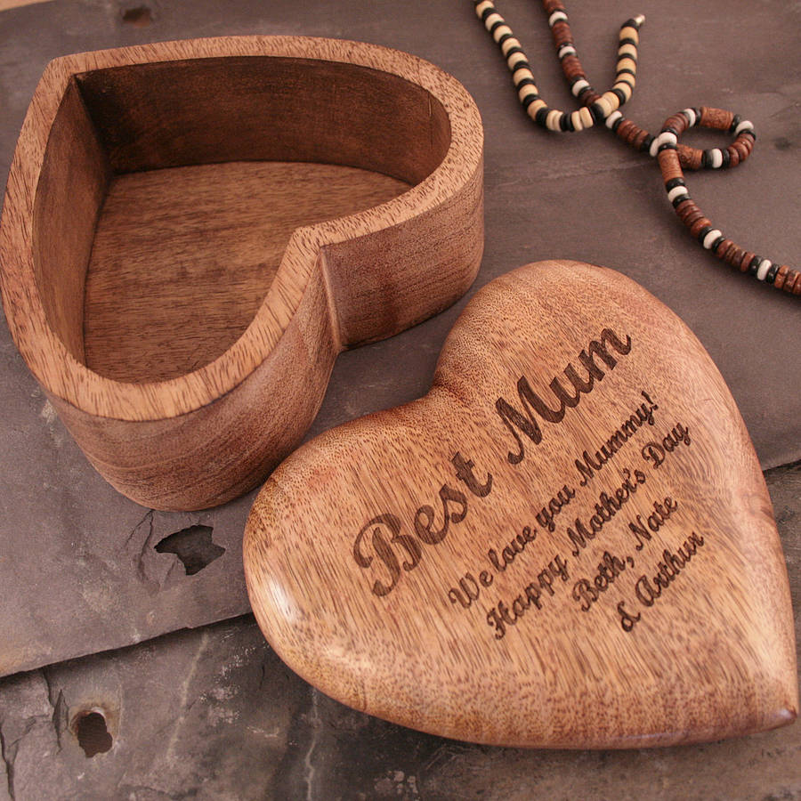 personalised mothers day gift heart jewellery box by cleancut wood