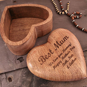 Personalised Mother's Day Gift Heart Jewellery Box