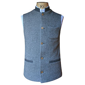 Grey Herringbone And Grey Contrasting Nehru Jacket