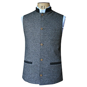 Grey Herringbone And Black Nehru Jacket In Cashmere