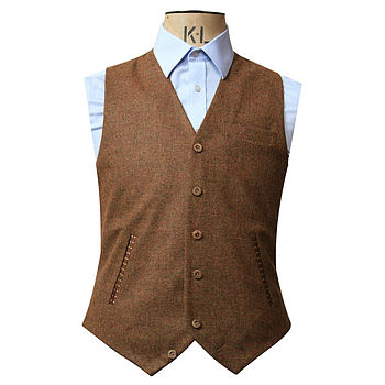 Brown Tweed Single Breasted Waistcoat