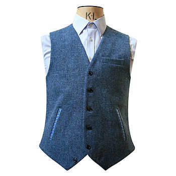 Blue Tweed Single Breasted Waistcoat