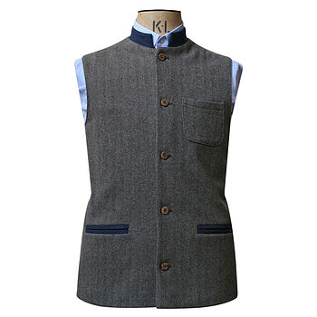 Greyish Brown And Blue Jerkin In Cashmere