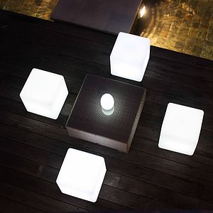 Colour Changing Outdoor Light Cube - living room