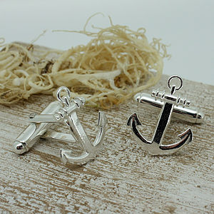 Silver Anchor Shaped Cufflinks - cufflinks