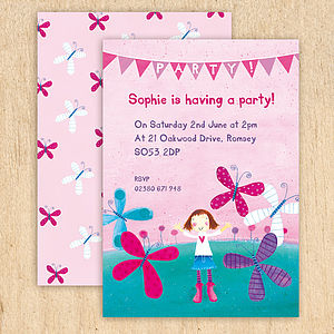 Personalised Butterfly Party Invitations - invitations