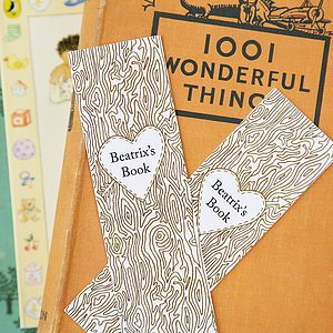 Personalised 'Tree Trunk' Bookmarks X4