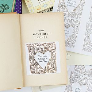 Personalised 'Tree Trunk' Bookplates X12