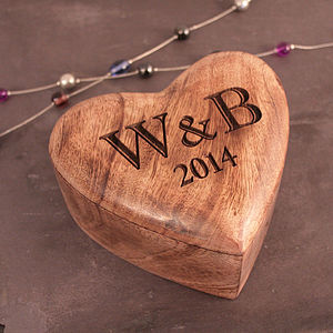 Personalised Fifth Anniversary Gift Heart Box - storage & organisers