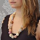 Rose Quartz Semi Precious Stone Long Necklace