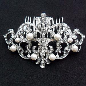Deco Inspired Crystal Hair Comb - wedding fashion