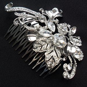 Decorative Floral Crystal Hair Comb - hats, hairpieces & hair clips