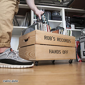 Personalised Record Storage Crate - kitchen accessories
