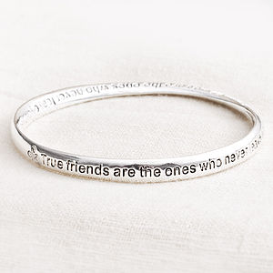 'True Friends' Message Bangle - jewellery gifts for friends
