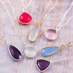 Initial Gemstone Necklace - necklaces & pendants