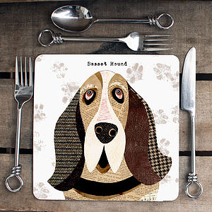 Basset Hound Personalised Dog Placemat - dining room