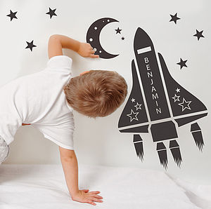 Personalised Space Shuttle Wall Stickers - bedroom