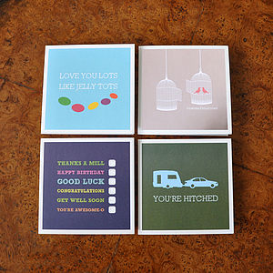 Pack Of Four Woohoo Greeting Cards