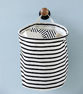 Nautical Striped Laundry Bag Storage Basket S - children's room accessories