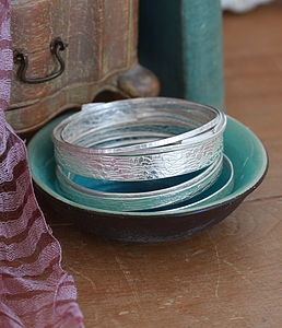 Handmade Lace Textured Silver Bangle - bracelets & bangles