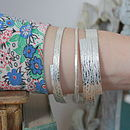 Handmade Lace Textured Silver Bangle