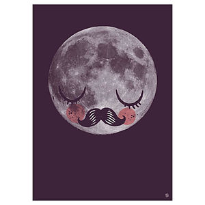 Man On The Moon Fur Neil Art Print Poster - nursery pictures & prints