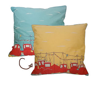 Reversible Boats Cushion - summer sale