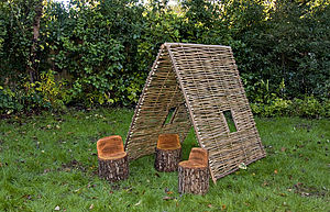 Wood Trunk Stools Set Of Two - garden furniture