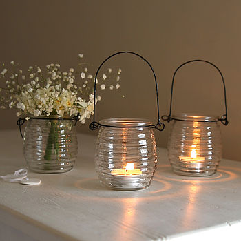 Beehive Glass Hanging Candle Holder