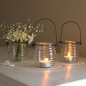 Beehive Glass Hanging Tealight Holder - decorative accessories