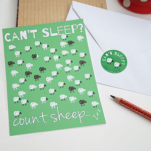 Can't Sleep Oversized Postcards With Sticker