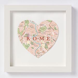 Rome Map Heart Print