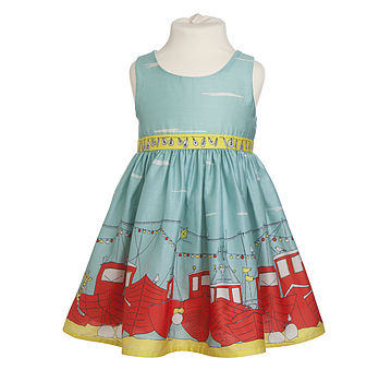 Martha Dress With Boats Print