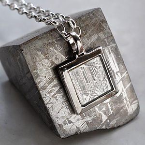 Meteorite And Silver Square Necklace - necklaces