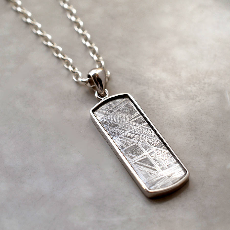 Meteorite and silver rectangular necklace by martha jackson sterling meteorite and silver rectangular necklace aloadofball Image collections