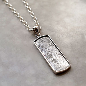 Meteorite And Silver Rectangular Necklace - jewellery gifts for fathers