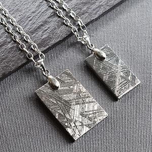 Meteorite And Silver Tag Necklace - necklaces