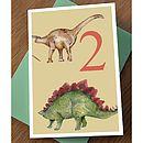 Dinosaur 2nd Birthday Card