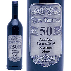 Personalised 50th Birthday Pewter Red Wine - food & drink gifts