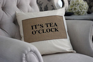 'It's Tea O'clock' Cushion - cushions