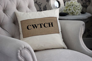 'CWTCH' Embroidered Cushion - embroidered & beaded cushions