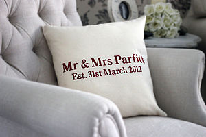 Personalised 'Mr And Mrs Since…' Cushion - 2nd anniversary: cotton