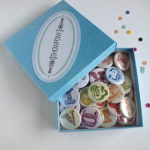 Alphabet Magnets Or Badges In Gift Box Of 50