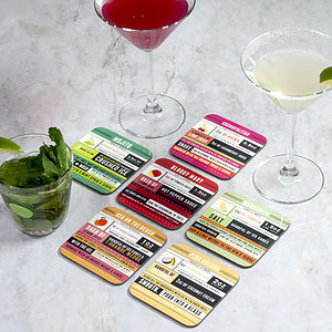 Cocktail Recipe Coaster Set