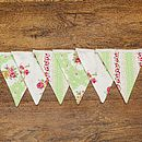 Country Floral Vintage Style Bunting - Green Spring Floral