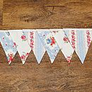 Country Floral Vintage Style Bunting - Powder Blue Floral