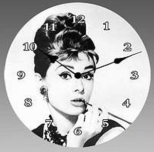 Audrey Hepburn Black And White Clocks Set Two