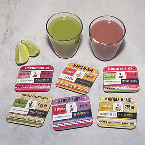Smoothie Recipe Coaster Set - placemats & coasters