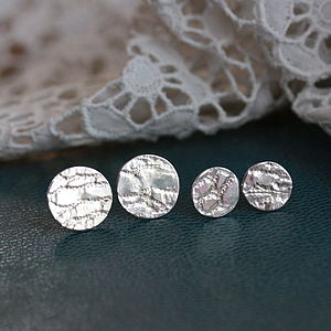 Handmade Silver Lace Stud Earrings - earrings